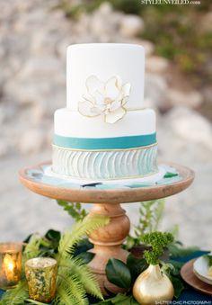 Beach Glass Inspired Wedding Cake