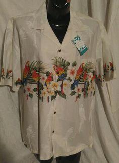 VTG Pacific Legend White Parrot Shirt Vibrant Colors Rare NWT Size 2XL Cruise #PacificLegend #ButtonFront