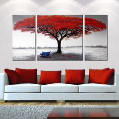'Golden Road' 3-piece Gallery-wrapped Hand Painted Canvas Art Set - Overstock Shopping - Top Rated Canvas