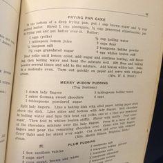 Frying Pan Cake; Merry Widow Pudding