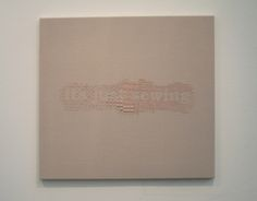 """It's just sewing    Hand embroidered cotton on linen, 26"""" x 27"""", 2014 by Jo Anna Hickman  #UMassDartmouth #Alumni"""