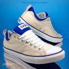 Converse All Star Mens Ivory White Trainers sz 10 Blue Padded Plimsoll Pumps 44 in Clothes, Shoes & Accessories, Men's Shoes, Trainers | eBay