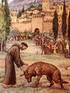 St. Francis of Asissi taming the wolf