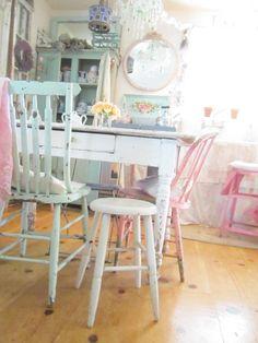 Shabby chic chippy painted white stool  by Vintagewhitecottage