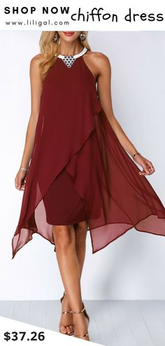 7d47146032 USD37.26 Wine Red Chiffon Overlay Embellished Neck Dress  liligal  dresses  Blue Chiffon