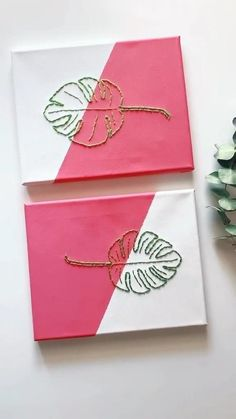 Easy Canvas Art, Simple Canvas Paintings, Small Canvas Art, Mini Canvas Art, Diy Canvas, Acrylic Canvas, Art Sur Toile, Hand Embroidery Art, Diy Art