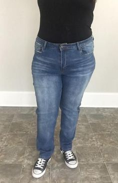 Mid Wash Boyfriend Denim - Trendy Plus Size Women's Boutique Clothing Fall Cardigan, Dress With Cardigan, Plus Size Womens Clothing, Clothes For Women, Houndstooth Dress, Discount Clothing, Discount Dresses, Winter Outfits Women, Trendy Plus Size