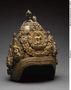 Priest's Crown, dated by inscription to 1654 Kathmandu Valley, Nepal Repoussé gilt copper