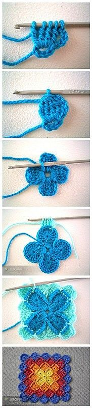 Bavarian crochet tutorial, better than a granny square Mode Crochet, Crochet Diy, Crochet Motifs, Crochet Squares, Crochet Granny, Learn To Crochet, Crochet Crafts, Yarn Crafts, Crochet Stitches