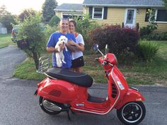 The Hill family from Middletown, RI and their new 2014 Vespa GTS300 Super in Dragon Red! They're all excited about this fabulous machine! Thank you for your business and enjoy the ride! :)  #vespa #vespahartford #scooter #scootercentrale #fun #smile #summer #piaggio #hartford #connecticut #rhodeisland #newport