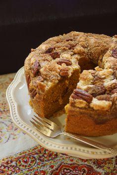 Pumpkin Cake with Pecan Streusel & Cream Cheese Crumble