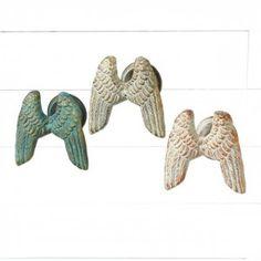 Multi Colored Angel Wings Wall Hooks, Set of 3