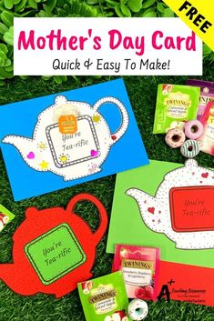 Tell Mum how much you love her with this easy printable Mother's Day Teapot Card. This simple, fun craft idea is not just for Mother's Day it can also be used for Father's Day or Teacher Appreciation Day. Tell someone they are tea-riffic and let them enjoy a nice relaxing cup of tea. Scroll to download the FREE Template now! #Mothersday Fathers Day Art, Mothers Day Crafts For Kids, Funny Mothers Day, Teapot Crafts, Cup Crafts, Morhers Day, Mothers Day Card Template, Easy Mother's Day Crafts, Mother's Day Printables