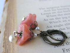 Coral Pearl Earrings Vintage Flowers by BumbershootDesigns on Etsy, $16.00