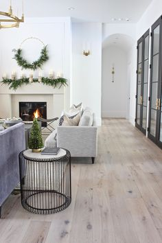 living room flooring The House of Silver Lining: The Forest Modern Grand Finale Christmas Home Tour Living Room Flooring, Living Room Interior, Home Living Room, Apartment Living, Living Room Designs, Living Room Decor, Home Flooring, Living Room White Walls, Modern Flooring