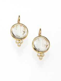TEMPLE ST. CLAIR Celestial Rock Crystal, Diamond & 18K Yellow Gold Small Moonface Earrings. #templest.clair #earrings