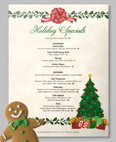 10 out of 10 gingerbread people prefer a holly jolly menu template like this for their Christmas Specials and Events! Food Menu Design, Restaurant Menu Design, Vintage Restaurant, Christmas Cards, Xmas, Christmas Eve, Holiday, Menu Template, Templates