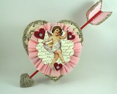 Vintage Style Cupid Valentine Heart Glass by SparkleLovesWhimsey, $20.00