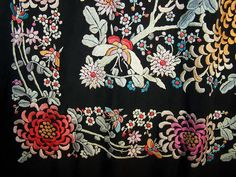 Antique Embroidered Floral Butterfly Canton Piano Shawl.
