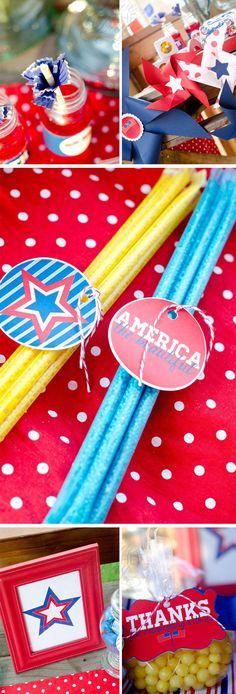of July Party Ideas by Lindi Haws of Love The Day 4th Of July Party, July 4th, Palette Table, Tissue Garland, 4th Of July Decorations, Patriotic Crafts, Pinwheels, Party Favors, Sewing Crafts