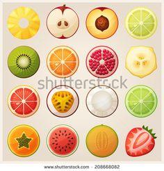 Set of fruit halves. Slices of pineapple, apple, peach, lemon, kiwi, orange, pomegranate, banana, grapefruit, passion fruit, coconut, lime, papaya, watermelon, melon, strawberry. Vector icons.