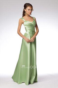bright satin full length bridesmaid dress with a-line bias skirt