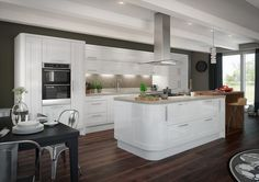 The Cream Gloss Kitchen Diaries 00023 - futthome New Kitchen Cabinet Doors, High Gloss Kitchen Cabinets, White Gloss Kitchen, White Shaker Kitchen, Classic White Kitchen, Shaker Kitchen Cabinets, Kitchen Island Table, White Kitchen Island, Kitchen Units