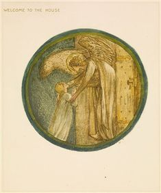 The Flower Book - Welcome to the House By Sir Edward Burne-Jones 1905 Circular image. A woman being embraced by an angel, leaning out from golden doors.