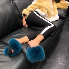 Fluffy as Hell 🔥👉🏻 The Cyan Fluffy Slides 👉🏻 hauteacorn.com 🎁....#furslides #fluffyslides #furshoes #fursandals #furflipflops #slides #furslippers #slippers #sandals #shoes #indoor #outdoor #realfur #fluffy Cute Sandals, Cute Shoes, Fluffy Sandals, Fluffy Slides, Fuzzy Slippers, Leather Slippers, Fur Slides, Womens Slippers, Bedroom Slippers