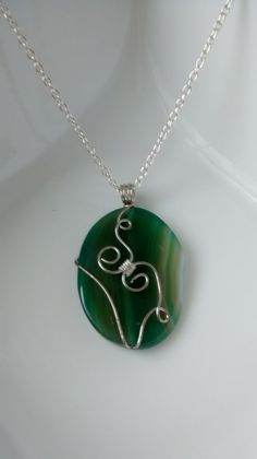 Green Wire Wrapped Pendant Necklace  Green by CharmingTreasures2, $20.00 Green Necklace, Pendant Necklace, Wire Wrapped Pendant, Wire Wrapping, Necklaces, Silver, Jewelry, Jewlery, Money