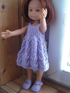 flared dress ( files in folder) Crochet Doll Clothes, Knitted Dolls, Doll Clothes Patterns, Clothing Patterns, Chloe Dress, Doll Costume, Knit Fashion, Knit Or Crochet, Diy Doll