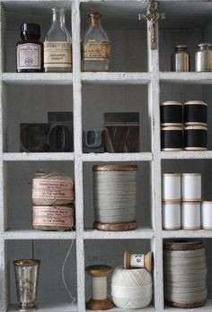 grey shelves | vintage threads | pretty objects