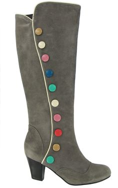 {Ella Heel Boots With Colorful Buttons Up Side In Gray} so much fun! looks like Smarties! :)