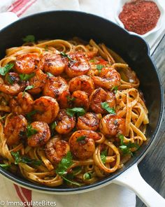 Blackened Shrimp and Pasta by africanbites #Shrimp #Pasta
