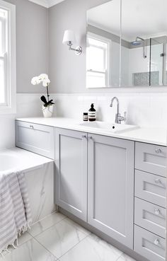 make grey bathrooms, grey bathroom paint, grey bathroom cabinets, gray Bathroom Inspiration, Grey Bathroom Cabinets, Gray And White Bathroom, Bathroom Interior, Grey Bathroom Tiles, Trendy Bathroom, Bathroom Design, Grey Bathroom Paint, White Bathroom