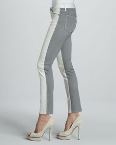Rich and Skinny Split Skinny Jeans, Oyster - Neiman Marcus