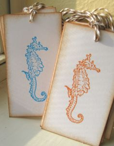 Seahorse Wedding Wish Tags Seahorse Gift Tags by CharonelDesigns, $6.50