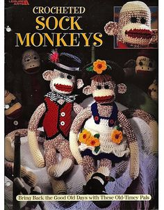Crocheted Sock Monkeys Crochet Pattern Book Leisure Arts 3130 by grammysyarngarden on Etsy