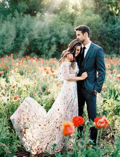 Wildflower Gown Wedding Inspiration in an embroidered wildflower wedding dress    #wildflowergown