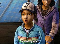 """""""It was my fault."""" Lee and Clementine were always taking the blame for the stupid actions of others. They would rather them get hurt then one of their friends. <3"""
