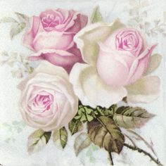 4x Single Table Paper Napkins for Party Decoupage Craft Vintage Bouquet of Roses