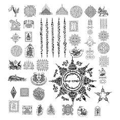 Thai tattoo symbols and meanings Simbolos Tattoo, Yantra Tattoo, Khmer Tattoo, Sak Yant Tattoo, Body Art Tattoos, Sleeve Tattoos, Tribal Tattoos, Maori Tattoos, Muay Thai Tattoo