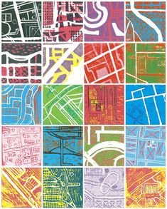 Reduction Printmaking : zoom in on abstracted neighborhood streets, assemble as . Reduction Printmaking : zoom in on abstracted neighborhood streets, assemble as a larger map? Classe D'art, Art Carte, Stoff Design, Art Watercolor, Middle School Art, Primary School Art, Art School, School Art Projects, Gcse Art