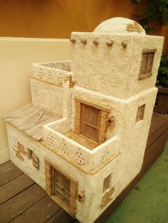 Casitas Diy Nativity, Christmas Nativity, Christmas Home, Clay Houses, Miniature Houses, Cement Art, Bible Crafts For Kids, Modelos 3d, Halloween Haunted Houses