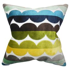 Cotton pillow with a multicolor waved stripe motif and feather-down fill. Made in Boston, Massachusetts.  Product: Pillow