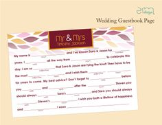 4 x 6 Fall Wedding Guestbook Pages. Simply place one at each table-setting and let your guests fill them out throughout the night. Then place them in a photo album. Makes for a great keepsake after the wedding!