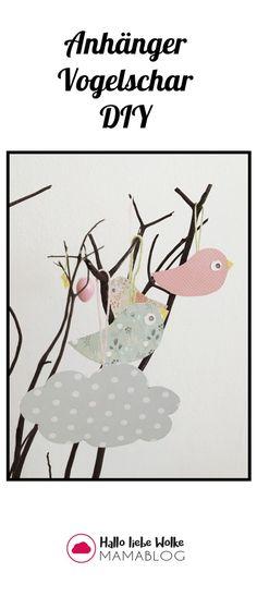 Kostenlose Bastelvorlage: Einfacher Anhänger Vogel aus buntem Papier. Sieht superschön aus als Deko für Ostern und gelingt auch Kindern! Viel Spaß beim Basteln, die Vorlage könnt ihr als Freebie Printable auf dem Wolke-Blog downloaden.