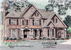 Garrell Associates, Inc.Winston House Plan # 96152, Front Elevation, European Manor Style House Plans, Traditional Style House Plans, Design by Michael W. Garrell