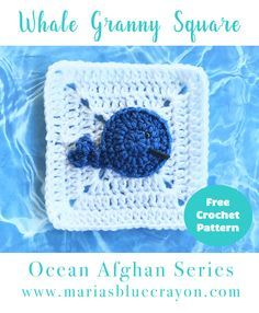 Whale Granny Square | Free Crochet Pattern | Whale Appique | Ocean Afghan Series