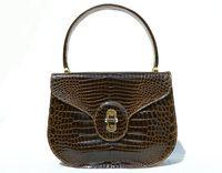 SANTA MARIA Khaki Green Brown 1990's-2000's Crocodile Porosus Belly Skin Handbag